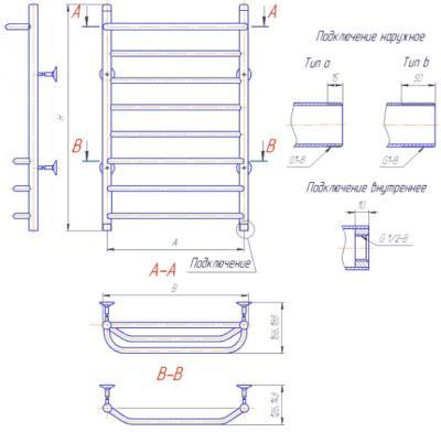 """Полотенцесушитель водяной Gloss & Reiter Лесенка Line Л.50x80.С1(25).Л7 (1"""") - схема"""