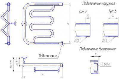 """Полотенцесушитель водяной Gloss & Reiter Twist ПМ.3.50x70 (1"""") - схема"""