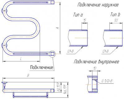 """Полотенцесушитель водяной Gloss & Reiter Standart М-образный M.50x40 (1"""") (с полочкой) - схема"""