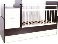 Детская кровать-трансформер Bambini М.01.10.01 (темный орех/слоновая кость) -
