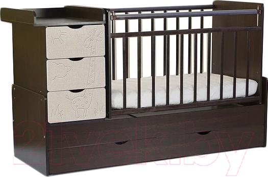 Купить Детская кровать-трансформер СКВ, Жираф 540038-212 (венге/серый текстиль), Россия, массив дерева
