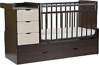 Детская кровать-трансформер СКВ Жираф / 540038-212 / 540048-212 (венге/серый текстиль) -