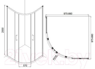 Душевой уголок Bravat Drop 100x100 / NDB2142