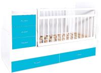 Детская кровать-трансформер Bambini М.01.10.01 (белый/голубой) -