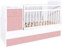 Детская кровать-трансформер Bambini М.01.10.01 (белый/розовый) -