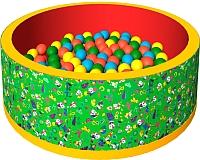 Игровой сухой бассейн Romana Веселая полянка ДМФ-МК-02.51.01 (150 шариков, зеленый/красный) -