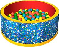 Сухой бассейн Romana Веселая полянка ДМФ-МК-02.51.01 (150 шариков, синий/красный) -