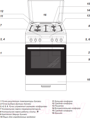 Плита газовая Hansa FCMX69205