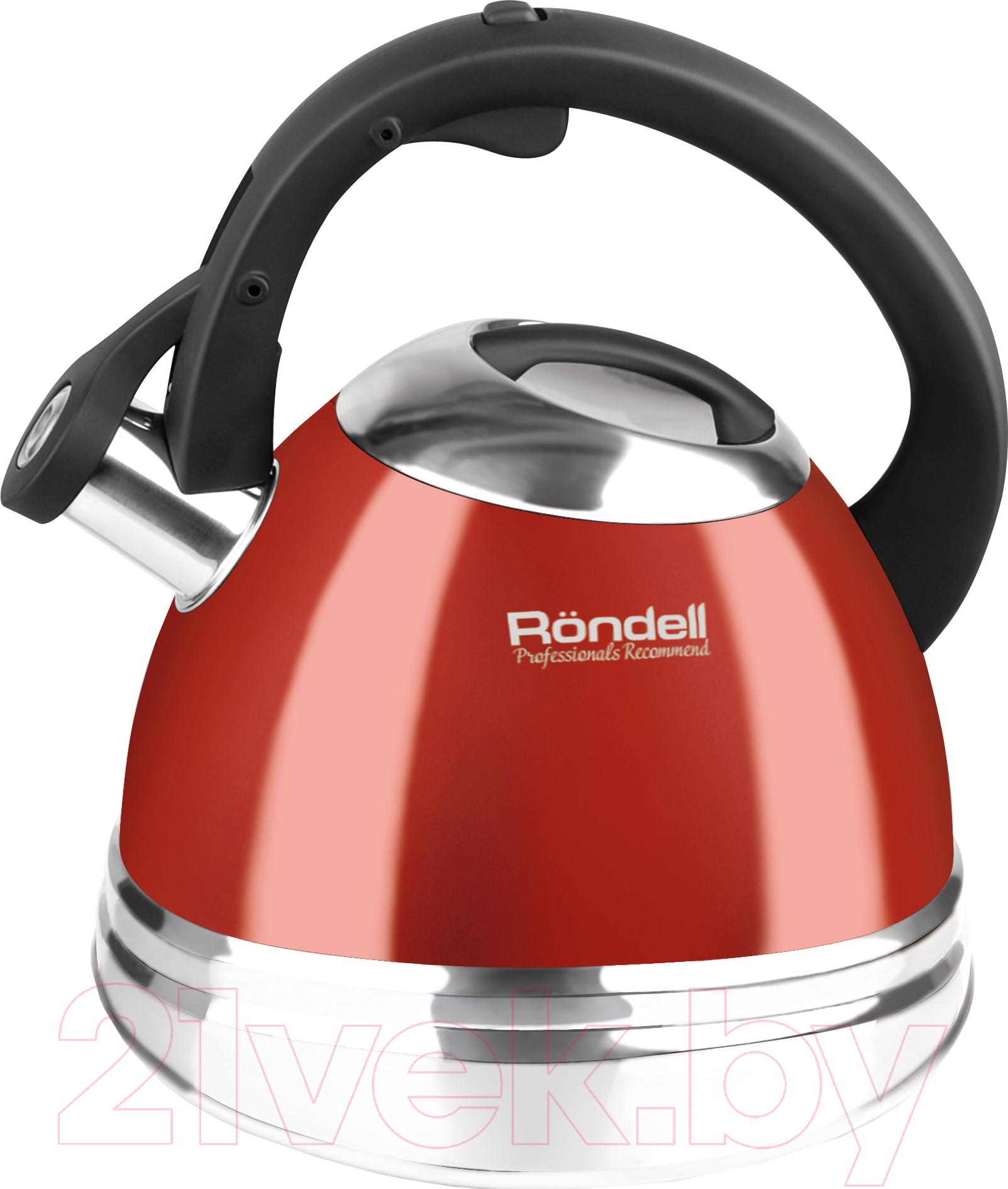 Чайник со свистком Rondell, RDS-498 (красный), Китай  - купить со скидкой