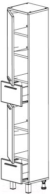 Шкаф-пенал для ванной СанитаМебель Прованс 501.300 (левый, гасиенда)