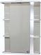 Шкаф с зеркалом для ванной СанитаМебель Камелия-10.60 (левый, белый) -