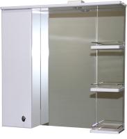 Шкаф с зеркалом для ванной СанитаМебель Камелия-12.75 Д2 (левый, белый) -