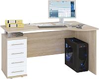 Письменный стол Сокол-Мебель КСТ-104.1 (левый, дуб сонома/белый) -