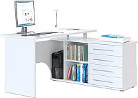 Компьютерный стол Сокол-Мебель КСТ-109 (правый, белый) -