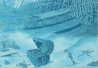 Элемент панно Березакерамика Лазурь корабль 7 бирюзовая (250x350) -