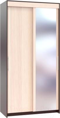 Шкаф Сокол-Мебель ШР-124.2 с зеркалом (венге/беленый дуб)