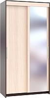 Шкаф Сокол-Мебель ШР-126.2 с зеркалом (венге/беленый дуб) -