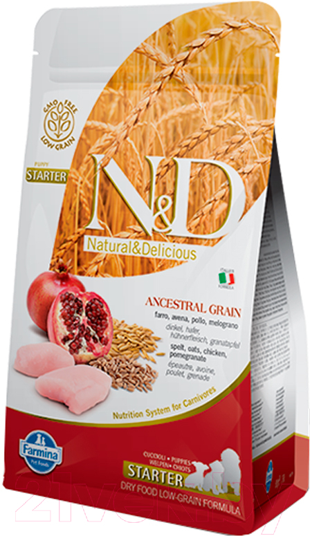 Купить Корм для собак Farmina, N&D Low Grain Chicken & Pomegranate Puppy Starter (0.8кг), Италия