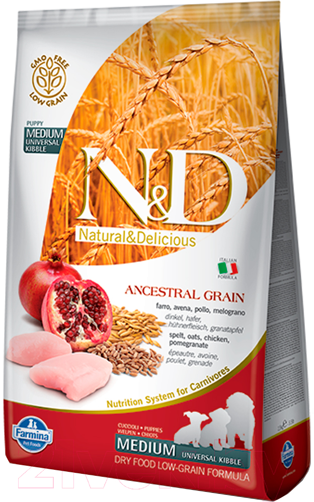 Купить Корм для собак Farmina, N&D Low Grain Chicken & Pomegranate Puppy Medium (2.5кг), Италия