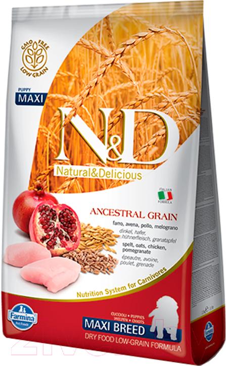 Купить Корм для собак Farmina, N&D Low Grain Chicken & Pomegranate Puppy Maxi (12кг), Италия