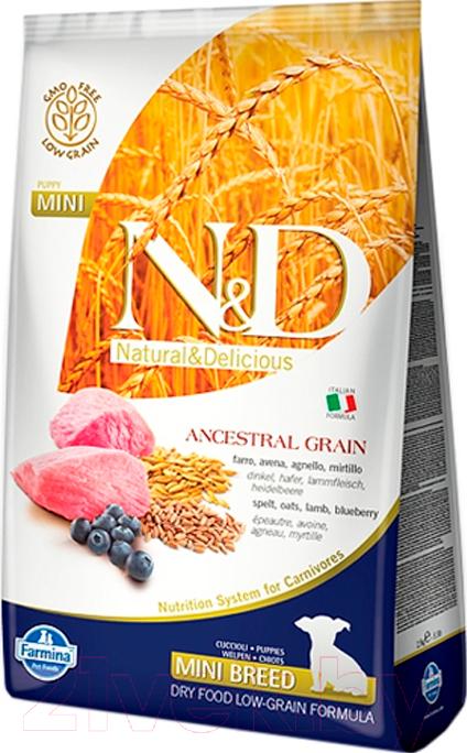 Купить Корм для собак Farmina, N&D Low Grain Lamb & Blueberry Puppy Mini (0.8кг), Италия
