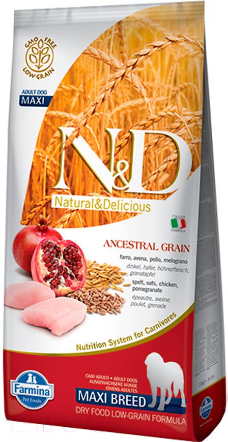Купить Корм для собак Farmina, N&D Low Grain Chicken & Pomegranate Adult Maxi (12кг), Италия