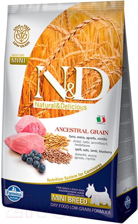 Купить Корм для собак Farmina, N&D Low Grain Lamb & Blueberry Adult Mini (2.5кг), Италия