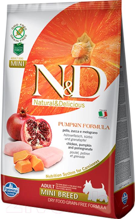 Купить Корм для собак Farmina, N&D Grain Free Pumpkin Chicken & Pomegranate Adult Mini (0.8кг), Италия