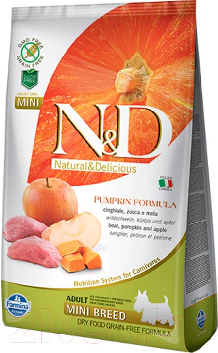 Корм для собак Farmina, N&D Grain Free Pumpkin Boar & Apple Adult Mini (7кг), Италия  - купить со скидкой