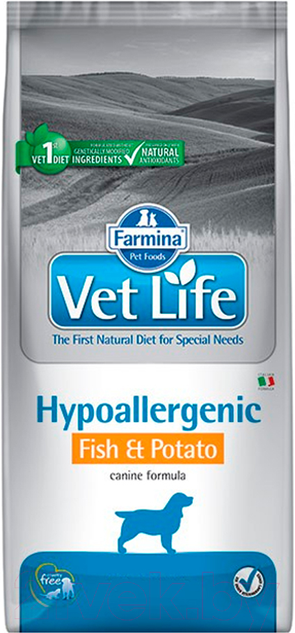 Купить Корм для собак Farmina, Vet Life Hypoallergenic Fish & Potato (12кг), Италия