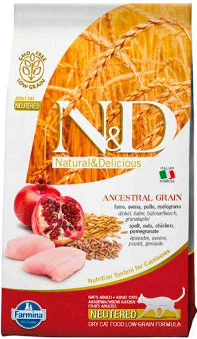 Купить Корм для кошек Farmina, N&D Low Grain Chicken & Pomegranate Neutered (10кг), Италия