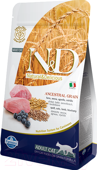 Купить Корм для кошек Farmina, N&D Low Grain Lamb & Blueberry Adult (10кг), Италия