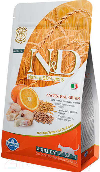 Купить Корм для кошек Farmina, N&D Low Grain Codfish & Orange Adult (10кг), Италия