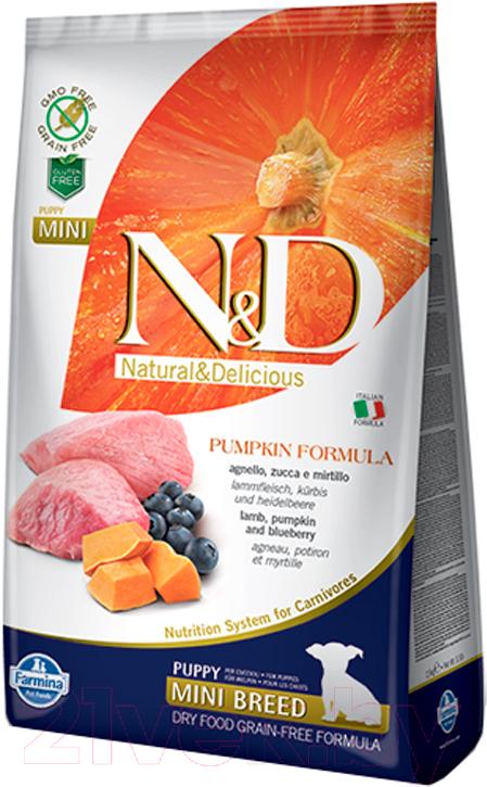 Купить Корм для собак Farmina, N&D Grain Free Pumpkin Lamb & Blueberry Puppy Mini (7кг), Италия