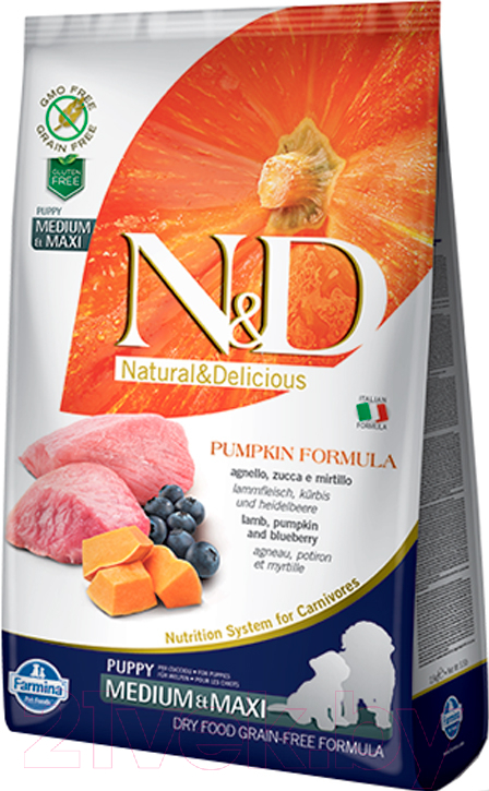Купить Корм для собак Farmina, N&D Grain Free Pumpkin Lamb & Blueberry Puppy Medium & Maxi (12кг), Италия