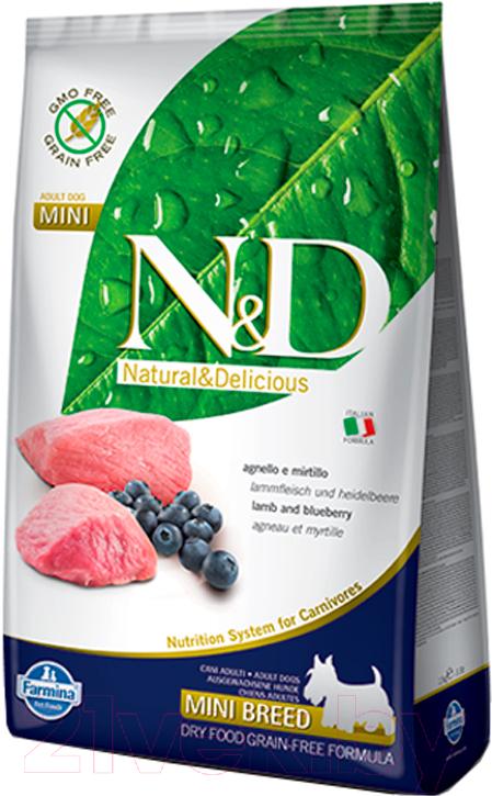 Купить Корм для собак Farmina, N&D Grain Free Lamb & Blueberry Adult Mini (0.8кг), Италия