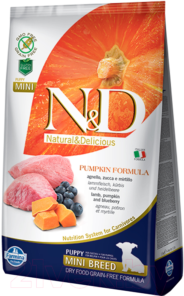 Купить Корм для собак Farmina, N&D Grain Free Pumpkin Lamb & Blueberry Puppy Mini (0.8кг), Италия