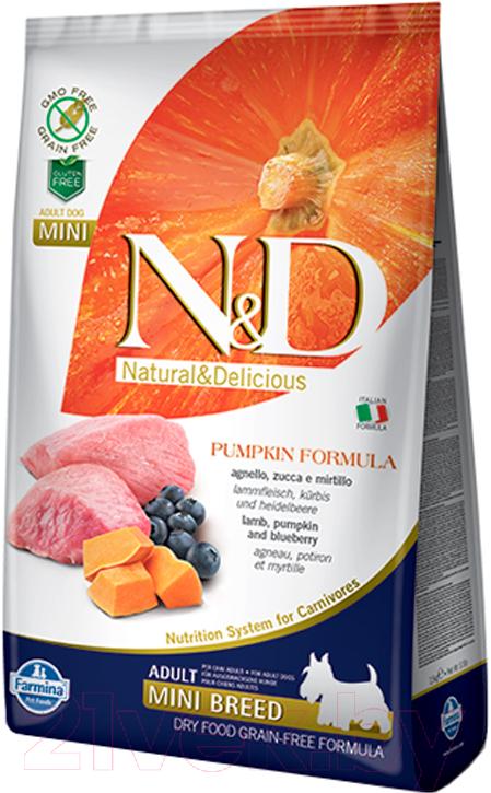 Купить Корм для собак Farmina, N&D Grain Free Pumpkin Lamb & Blueberry Adult Mini (0.8кг), Италия