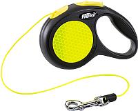 Поводок-рулетка Flexi Neon трос (XS, светоотражающий) -