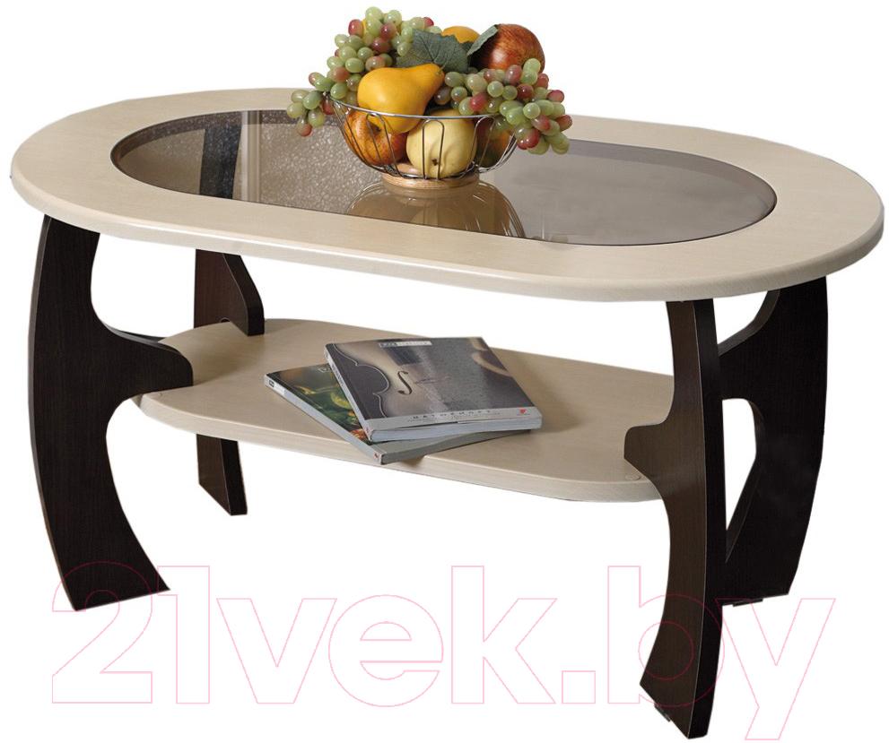 Купить Журнальный столик Олмеко, Маджеста-2 со стеклом (венге/клен азия), Россия