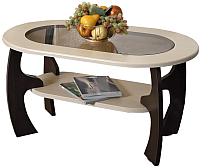 Журнальный столик Олмеко Маджеста-2 со стеклом (венге/клен азия) -