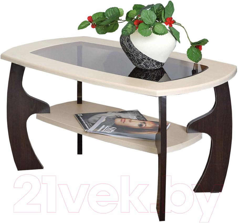 Купить Журнальный столик Олмеко, Маджеста-3 со стеклом (венге/клен азия), Россия