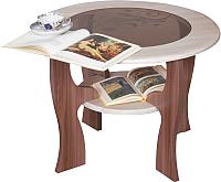Журнальный столик Олмеко Маджеста-6 со стеклом (ясень шимо темный/светлый) -