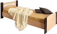 Односпальная кровать Олмеко 900 (венге/дуб линдберг) -