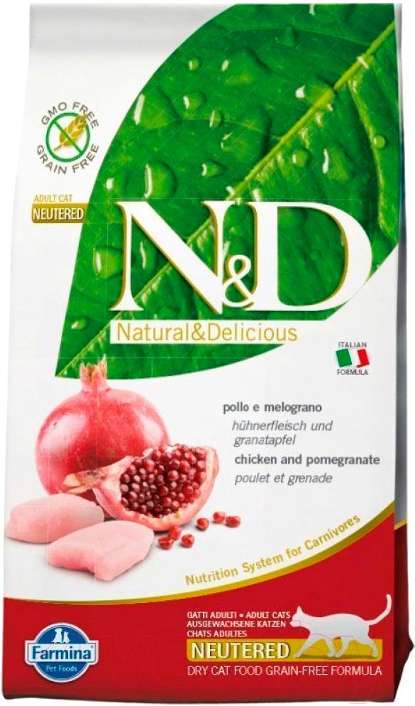Купить Корм для кошек Farmina, N&D Grain Free Cat Chicken & Pomegranate Neutered (10кг), Италия