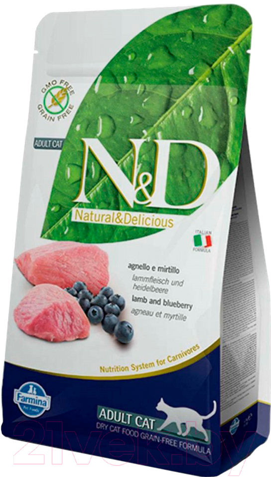 Купить Корм для кошек Farmina, N&D Grain Free Cat Lamb & Blueberry Adult (1.5кг), Италия