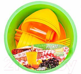 Купить Набор пластиковой посуды Berossi, Picnic Mini ИК 22634000 (солнечный), Россия