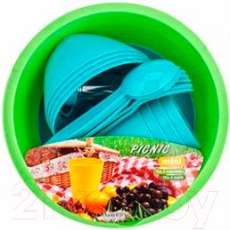 Купить Набор пластиковой посуды Berossi, Picnic Mini ИК 22637000 (бирюзовый), Россия, полипропилен