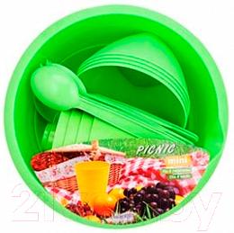 Купить Набор пластиковой посуды Berossi, Picnic Mini ИК 22638000 (салатовый), Россия, полипропилен