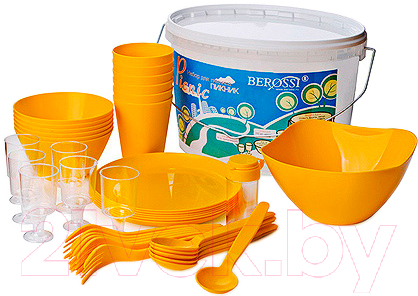 Купить Набор пластиковой посуды Berossi, Picnik ИК 06234000 (солнечный), Россия, полипропилен